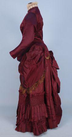 SILK BUSTLE DRESS with BEADED TRIM, c. 1880