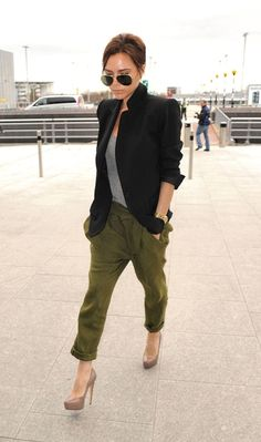 very chic - always. love the mix of the cargo pants and tailored blazer