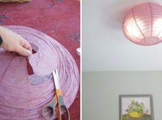 DIY Flush Mount Light Cover | DIY flush mounted paper ceiling shade