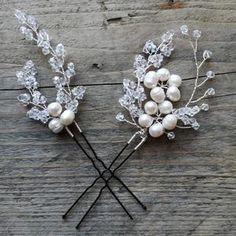 Aria Pearl Hairpins – Alexandra Bespoke Pearl Hair Pins, Circlet, Bridal Accessories, Hair Pieces, Fresh Water, Swarovski Crystals, Plating, Ivory, Pearls