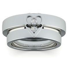 Matching Split Heart Diamond Wedding Ring Set in Platinum | Image 02