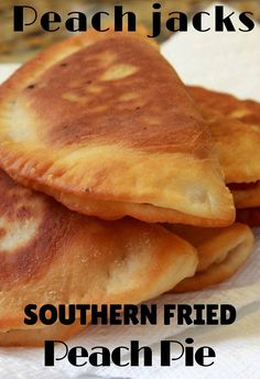 "Fried pies are a southern tradition. Usually fried in lard these ""jacks"" are individual pies. Kinda like hand pies. Fried Peach Pies, Fried Hand Pies, Fried Apple Pies, Fried Fruit Pies Recipe, Pecan Pies, Apricot Fried Pies Recipe, Pie Dessert, Dessert Recipes, Peach Pie Recipes"