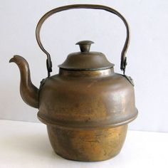 Norway Copper Teapot Water Kettle Aged Patina Wood Stove Inset No Leaks 3 cup