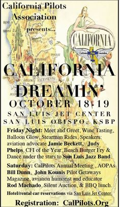 Thanks for the invite California Pilots Association to the Calfornia Dreamin' Fly-In, Oct. 18-19, in San Luis Obispo, CA. We hope to make it and wanted to share the invite with the rest of our community in case any one else was interested in attending! http://calpilots.org/