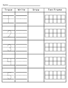 Number Practice 1-10: Trace, Write, Draw, Fill in Ten Frame. Plus a TON more number activities!