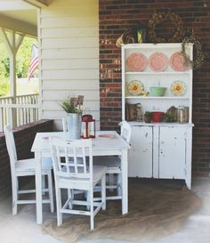 SHABBY CHIC PAINTED WHITE TABLE AND ANTIQUE HUTCH FROM VINTAGE VISION FURNITURE IN HUDSON, NC.  SEE MORE AT:  http://www.facebook.com/vintagevisionstore