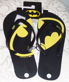 DC Comics Batman Men's Flip Flops Sandals Large 10/11 New With Tags #DC #FlipFlops