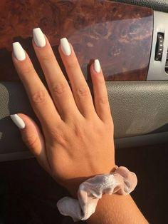nails one color summer / nails one color ; nails one color simple ; nails one color acrylic ; nails one color winter ; nails one color summer ; nails one color gel ; nails one color short ; nails one color matte White Coffin Nails, Acrylic Nails Coffin Short, Simple Acrylic Nails, Square Acrylic Nails, White Acrylic Nails, White Nail Art, Summer Acrylic Nails, Acrylic Nail Designs, Matte White Nails