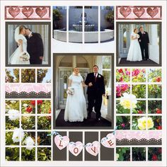 Wedding Scrapbook Pages - This lovely wedding page features a pattern with photo strip and mosaic elements.   This site has a lot of scrapbook patterns.