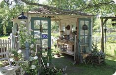 Love this open air garden shed