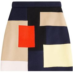 MSGM Wool Mini Skirt (13.330 RUB) ❤ liked on Polyvore featuring skirts, mini skirts, bottoms, faldas, multicolor, zipper mini skirt, slim skirt, beige mini skirt, color block skirt and zipper skirt