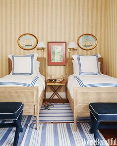 """""""Stripes galore for the young boys' bedroom: Phillip Jeffries's Island Raffia wallcovering, Matouk bed linens. """"An Old-Fashioned House Gets a Dose of Seaside Glamour"""" by Barbara King. Coastal Bedrooms, Guest Bedrooms, White Bedrooms, Guest Room, Master Bedroom, Theodora Home, Beautiful Bedrooms, House Beautiful, Interiores Design"""
