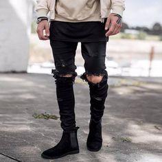 Cheap Hip hop arrancó jeans para hombres ocasionales flacos distressed denim pants para hombre del punk rock agujero roto biker slim fit vaqueros pantalon homme, Compro Calidad Jeans directamente de los surtidores de China: 30 cintura 80 cm longitud 105 cm muslo 54 cm abertura de la pierna 14 cm