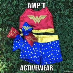 Wonder Woman Three Piece Crop Pro Shorts and Bow by AMPtActivewear