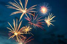 Orange and red fireworks bursts