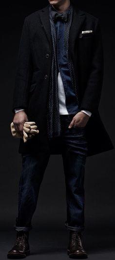 Black and Charcoal Herringbone Overcoat, G-Star. Men's Fall Winter Fashion.