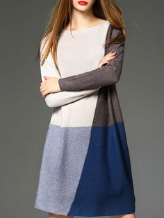Color-block Knitted Mini Dress