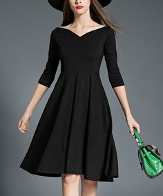 Look at this #zulilyfind! Black Portrait Collar Fit & Flare Dress #zulilyfinds