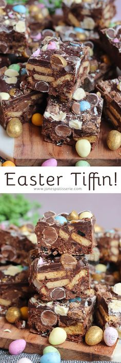 Easy No-Bake Easter Tiffin with all the Chocolate Goodness!Oh hey hiiii my new Easter traybake that I am ever so slightly obsessed with. Candy Recipes, Sweet Recipes, Baking Recipes, Dessert Recipes, Desserts, Pudding Recipes, Baking Ideas, Easter Recipes, Holiday Recipes