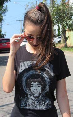 Camiseta Hendrix  TAMANHO UNICO, medidas  90cm busto  66cm comprimento