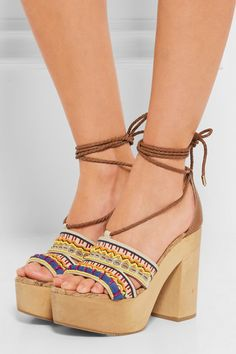Heel measures approximately 125mm/ 5 inches with a 45mm/ 2 inches platform Ecru canvas Ties at ankle Large to size. See Size & Fit notes.