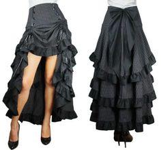 Bjork - Vulnicura [Vinyl New] - High Waist Long Black Pinstripe Tiered Layered Skirt Bow Steampunk Pirate Goth