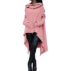49157a84e1a96 MORCHAN Femmes Automne Hiver Solide Hoodie Sweatshirt Cardigan Mode Manteau  Blouson Loose Tunique Long à Capuche