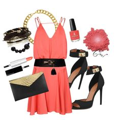 I just really love this color! Would wear this on a hot date at twilight. Coral, Shoe Bag, Polyvore, Stuff To Buy, Outfits, Shopping, Clothes, Collection, Design