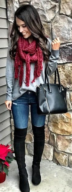 #winter #fashion Burgundy Scarf + Grey Knit + Black OTK Boots