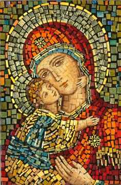 Polish Art Center - Matka Boska Wlodzimierska - Our Lady of Wladimir Mosaic Icon - Project Mosaic Tile Art, Byzantine Art, Mosaic Portrait, Painting, Art, Catholic Art, Christian Art, Art Center, Sacred Art