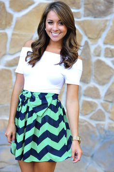 Chevron A- line skirt + off the shoulder tee. Adorable combo