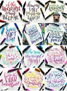 Cute Qoutes, Hand Lettering Alphabet, Letter Art, Brush Pen, Journal Ideas, Pens, Planners, Crafts For Kids, Bullet Journal