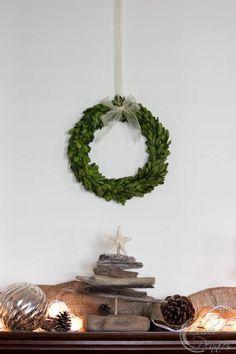 Boxwood Wreath and Coastal Mantel