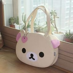 Lovely Cute Ivory Leather Korilakkuma Face Shoulder Tote Travel Bag Godosoft], in [Clothing, Shoes & Accessories, Women's Handbags & Bags, Handbags & Purses Kawaii Bags, Kawaii Diy, Kawaii Shop, Kawaii Clothes, Kawaii Cute, Kawaii Style, Diy Clothes, Cute Purses, Purses And Bags