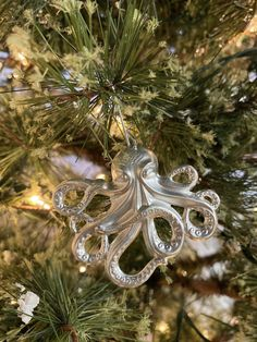 the silver octopus ornament Beach Christmas, Christmas Treats, Holiday Ornaments, Holiday Fun, Christmas Ornament, Christmas Holidays, Holiday Decor, Xmas Ideas, Holiday Ideas
