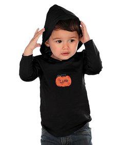 Black Pumpkin Personalized Hood Tee - Infant Toddler & Boys