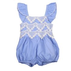 Summer Newborn Baby Girls Lace Denim Romper Flying Sleeve Jumpsuit Outfit Sun-suit Clothes