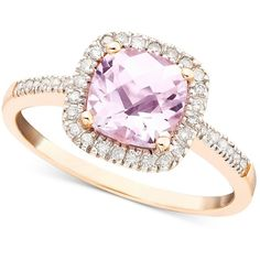Pink Amethyst (1-1/3 ct. t.w.) and Diamond (1/5 ct. t.w.) Ring in 10k... ($219) ❤ liked on Polyvore featuring jewelry, rings, rose gold amethyst ring, round cut rings, rose gold diamond ring, pink amethyst ring and amethyst rings