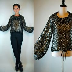 Sequin BALLOON Sleeve Draped Top. Vintage 70s by BluegrassVoodoo