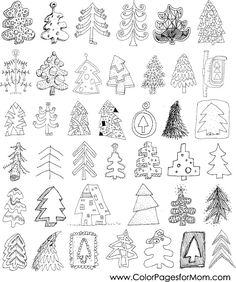 Christmas trees doodle collection: set of 40 different trees in black and white. objects are isolated in a group (only in vector version). illustration is Animal Coloring Pages, Coloring Pages To Print, Free Coloring, Coloring Pages For Kids, Coloring Books, Christmas Images, Christmas Colors, Christmas Trees, Christmas Things