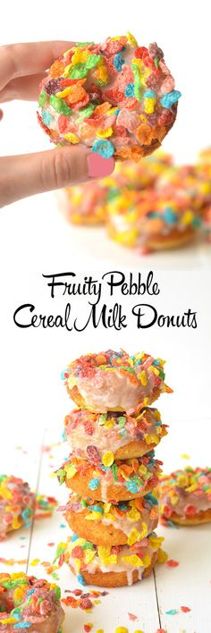 Sweet baked donuts with a cereal milk glaze and a topping of Fruity Pebble flakes from Sweetest Menu