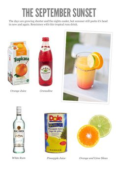 september sunset: Orange juice, grenadine, pineapple juice, white rum, orange & lime slices