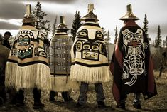 Tlingit chiefs from the Raven moiety in Alaska attend the Dakl' aweidi HÍt (clan house) raising ceremony in Whitehorse, Yukon, Canada.