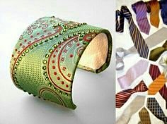 bracelets out of men's neck ties. really cool idea! She also makes clutch purses and other items with old ties. Tie Crafts, Crafts To Do, Easy Crafts, Jewelry Crafts, Handmade Jewelry, Old Ties, Diy Accessories, Beaded Embroidery, Diy Fashion
