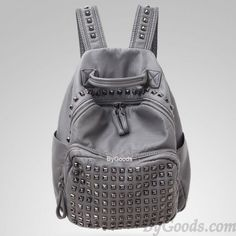 <3 Cute Vintage Grey Fashion Backpack with Studded Straps and Pockets <3