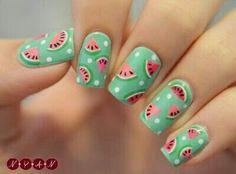 Nail Art Frutal, Sandia