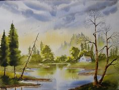 Paint Watercolours With Colin Walters ....Cottage By The Lake