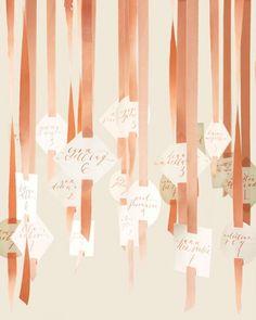 Wedding Ideas: ribbon-hanging-peach