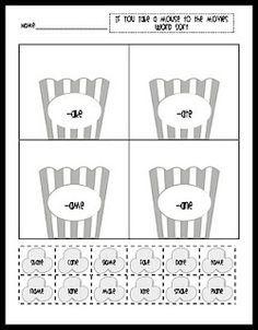 Printable Popcorn Word Family