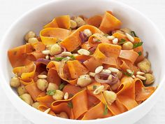 Carrots with Chickpeas and Pine Nuts #FNMag #myplate #veggies #protein